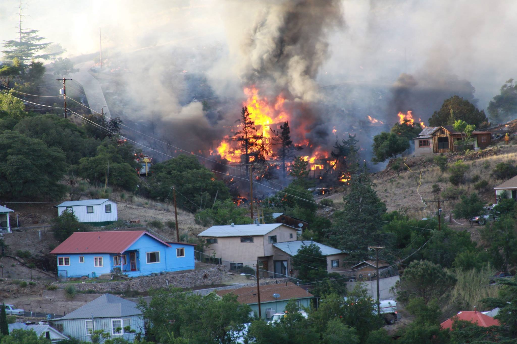 Several homes were evacuated due to a fire in Bisbee. (Source: Copper Queen Hotel)