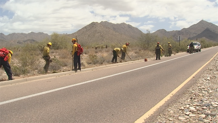 Firefighters teamed up with folks from the Tonto National Forest near Bell Road and the Thompson Peak Parkway. They cut back brush and cleared open space. (Source: 3TV/CBS 5)