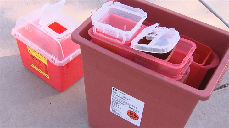 The Arizona Department of Environmental Quality encourages at-home needle users to put medical sharps in a biohazard container before tossing them in the garbage to reduce the risk of accidental needle sticks. (Source: 3TV/CBS 5)