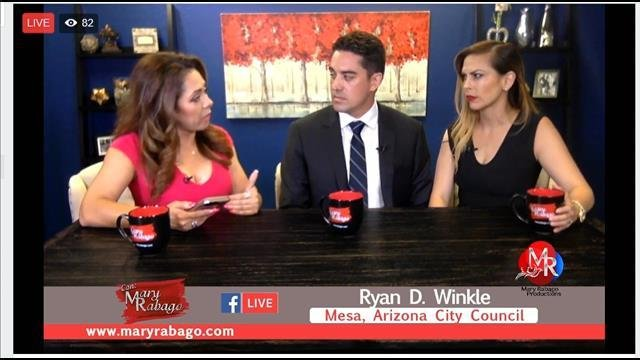 Mesa City Councilman Ryan Winkle and his wife, Erika (right), sat down with independent journalist Mary Rabago to discuss his recent DUI arrest. (Source: Facebook.com/maryrabagoAZ)