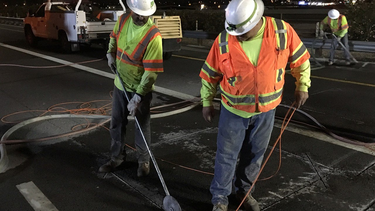 Crews install new in-pavement sensors to monitor traffic on Interstate 17. (Source: Arizona Department of Transportation)