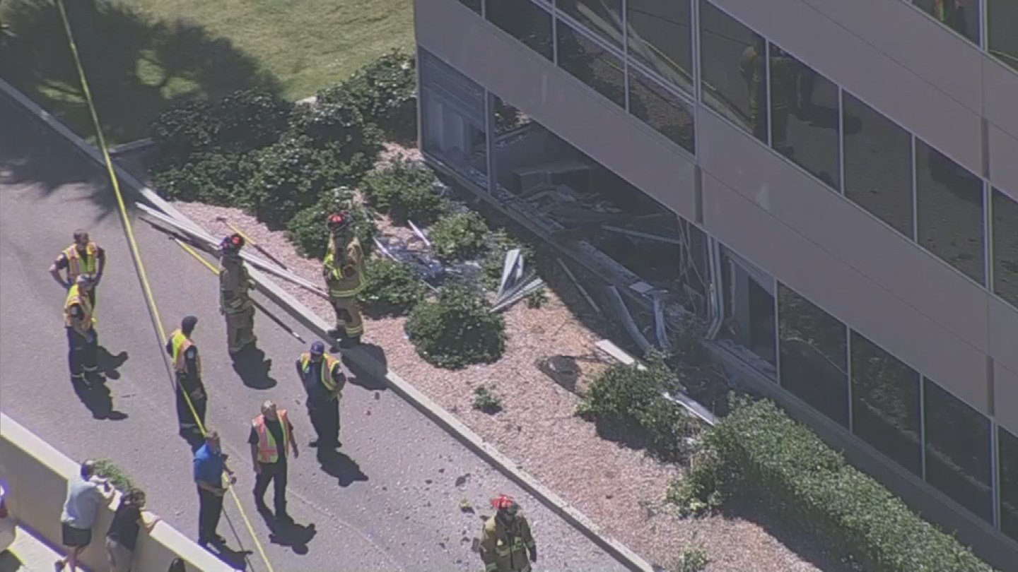 A three-car collision ended with a car crashing through a Scottsdale building. (Source: 3TV/CBS 5)