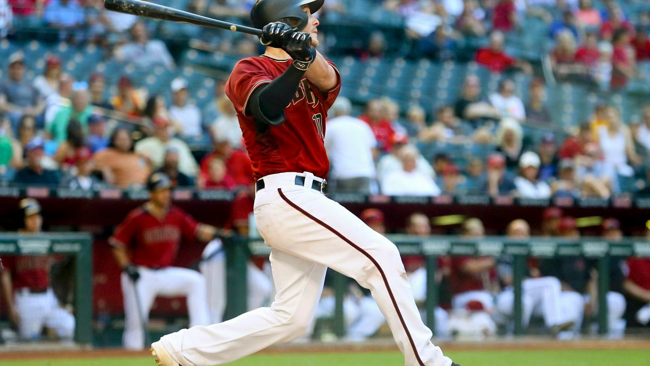 PHOENIX, AZ - MAY 17: Arizona Diamondbacks Catcher Chris Herrmann (10) hits a game winning solo home run during the MLB game between New York Mets and the Arizona Diamondbacks at Chase Field on May 17, 2017 in Phoenix.  (Icon Sportswire via AP Images)