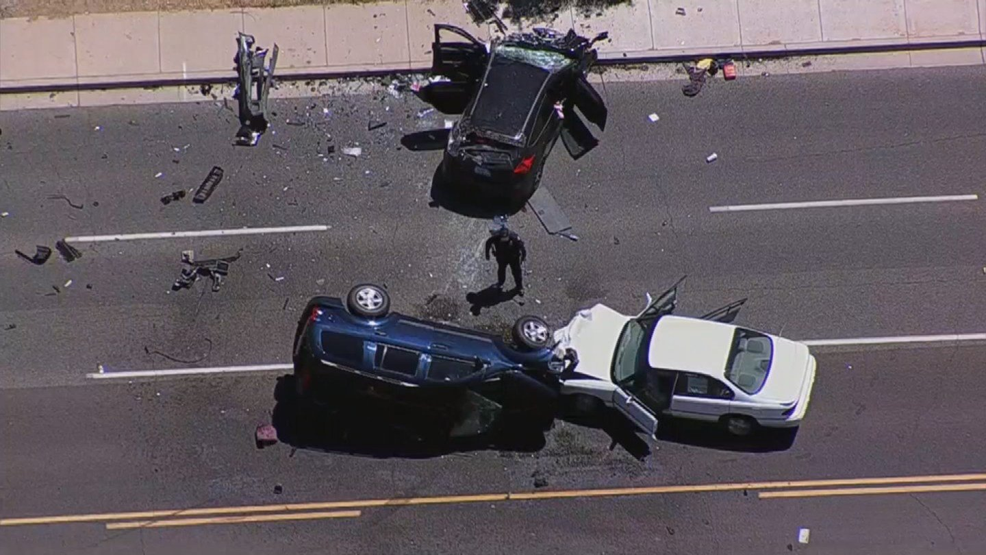 Five people were transported for precautionary reasons from a 3-vehicle crash. (Source: 3TV/CBS 5)