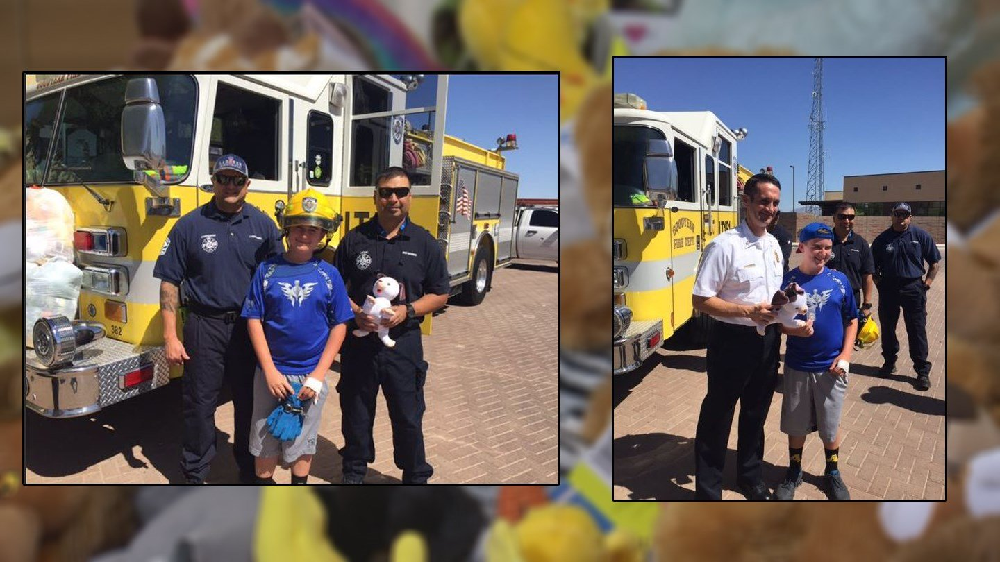 Trace Eddy was recognized for her donation of dozens of stuffed animals in Goodyear. (Source: Goodyear Police Department/3TV/CBS 5)