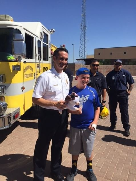 He was able to get dozens of stuffed animals in part due to Black Bear Diner and Kohl's. (Source: Goodyear Fire Department)