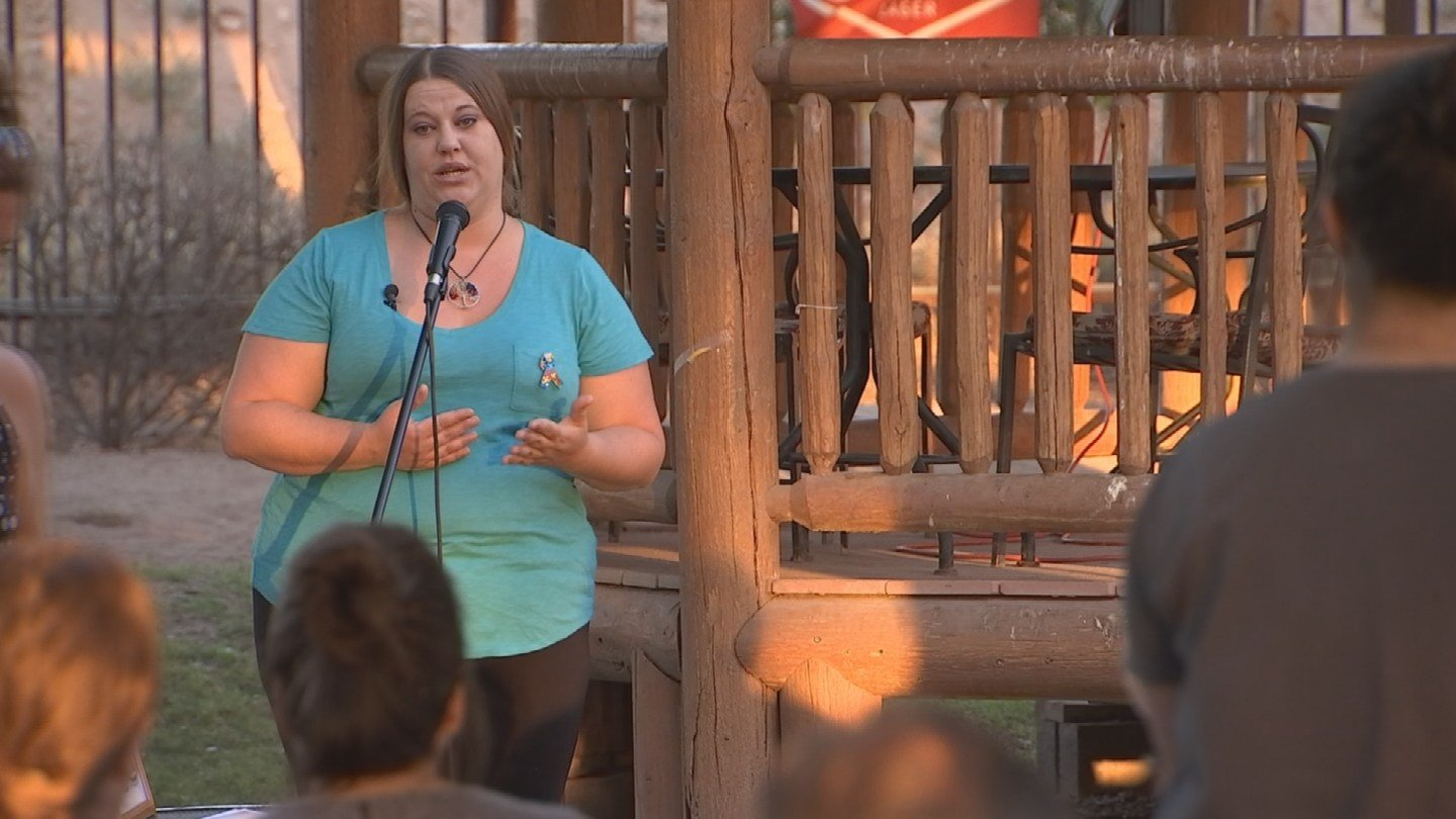 Brandy Williams shares her story with a group after turning to cannabis to help treat her son's autism. (Source: 3TV/CBS 5)
