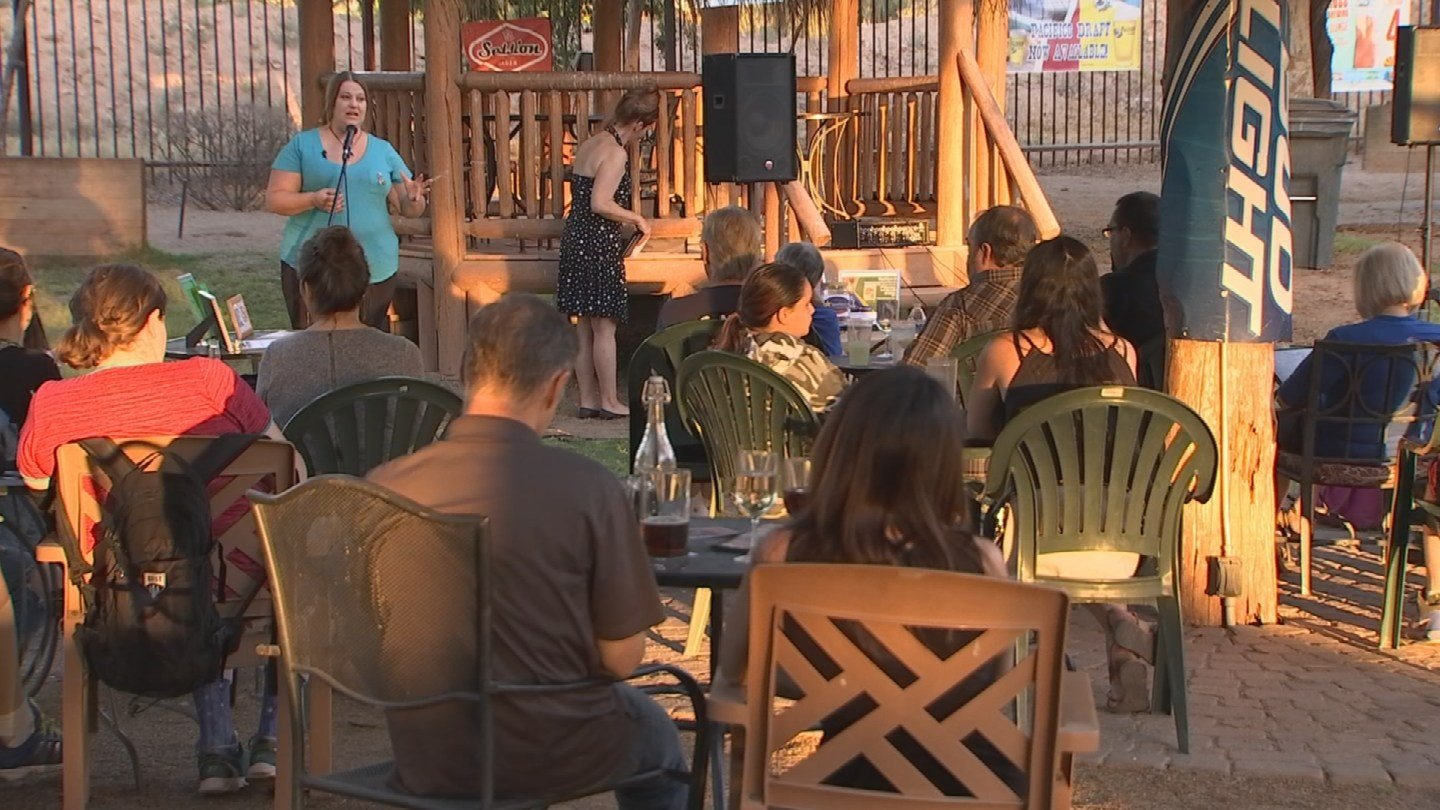 Williams spoke on behalf of a group called MomForceAZ at a gathering in Mesa. (Source: 3TV/CBS 5)