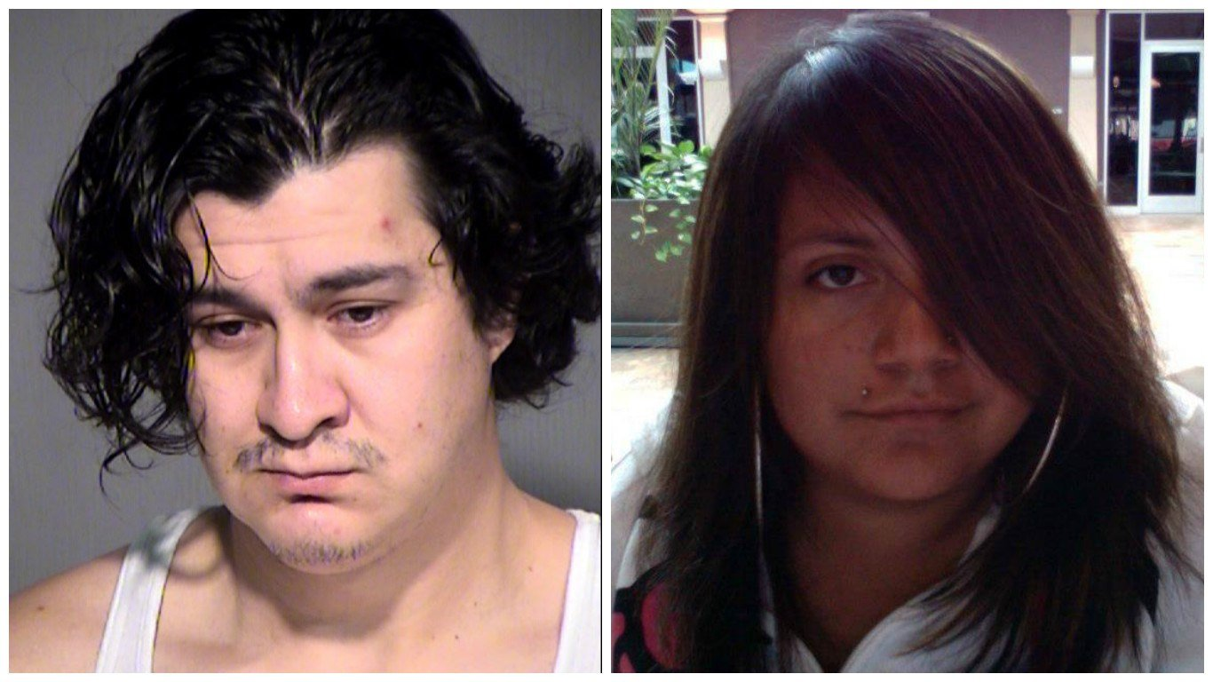 Andres Reyes (left) is faces charges of first-degree murder in the 2014 deaths of Bridget Charlebois and her unborn son. (Source Maricopa County Sheriff's Office and Memories of Bridget Charlebois Facebook page)