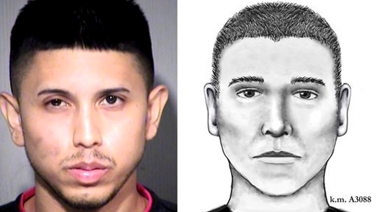Booking photo of Aaron Juan Saucedo, left, and composite sketch of the Serial Street Shooter. (Source: Phoenix Police Department/Maricopa County Sheriff's Office)