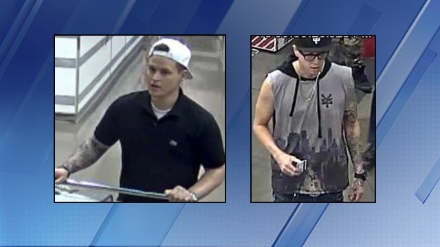 Two men allegedly stole a security system and a speaker from a Costco in Phoenix. (Source: Silent Witness)