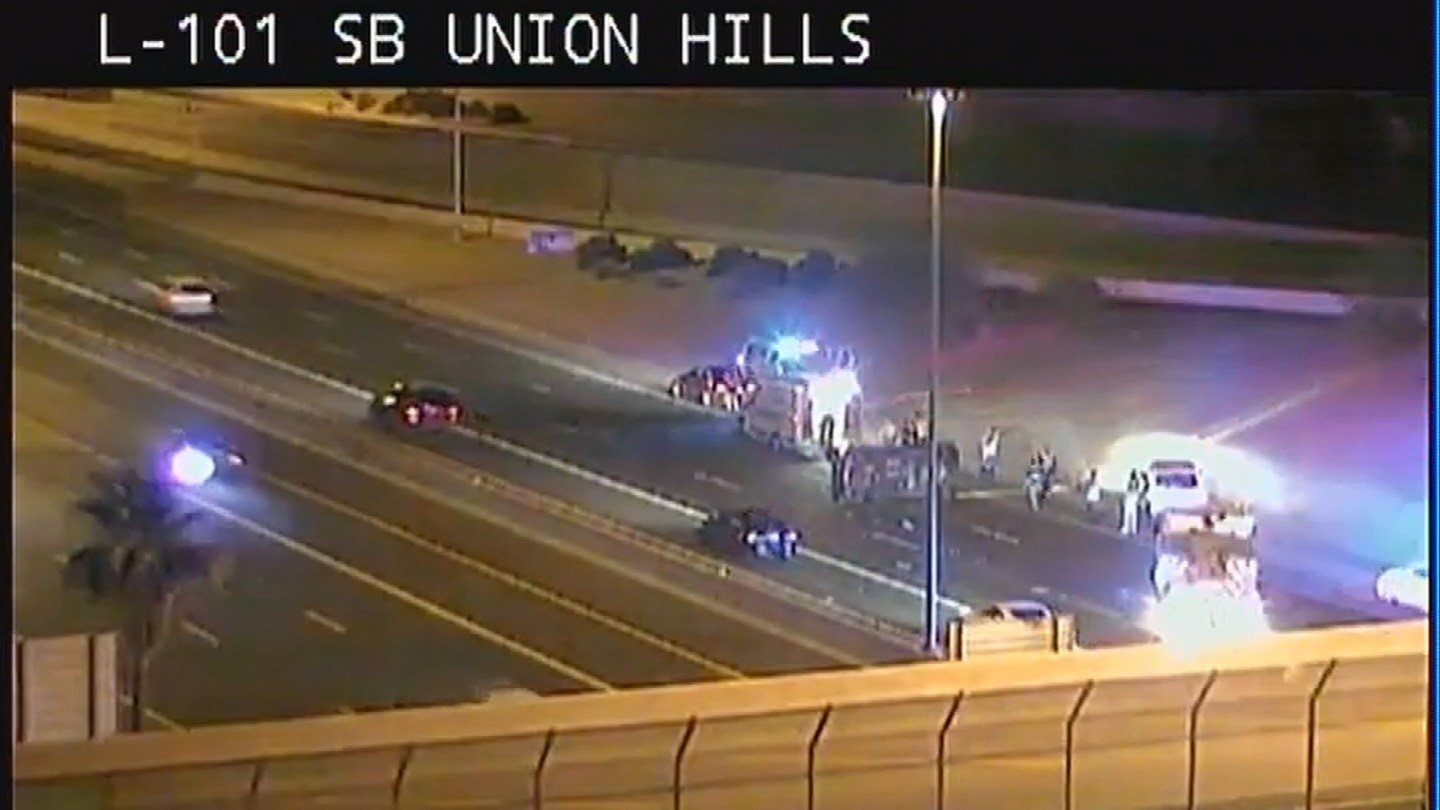 ADOT cam of Sunday's rollover at Loop 101 near Union Hills. (COURTESY: ADOT)