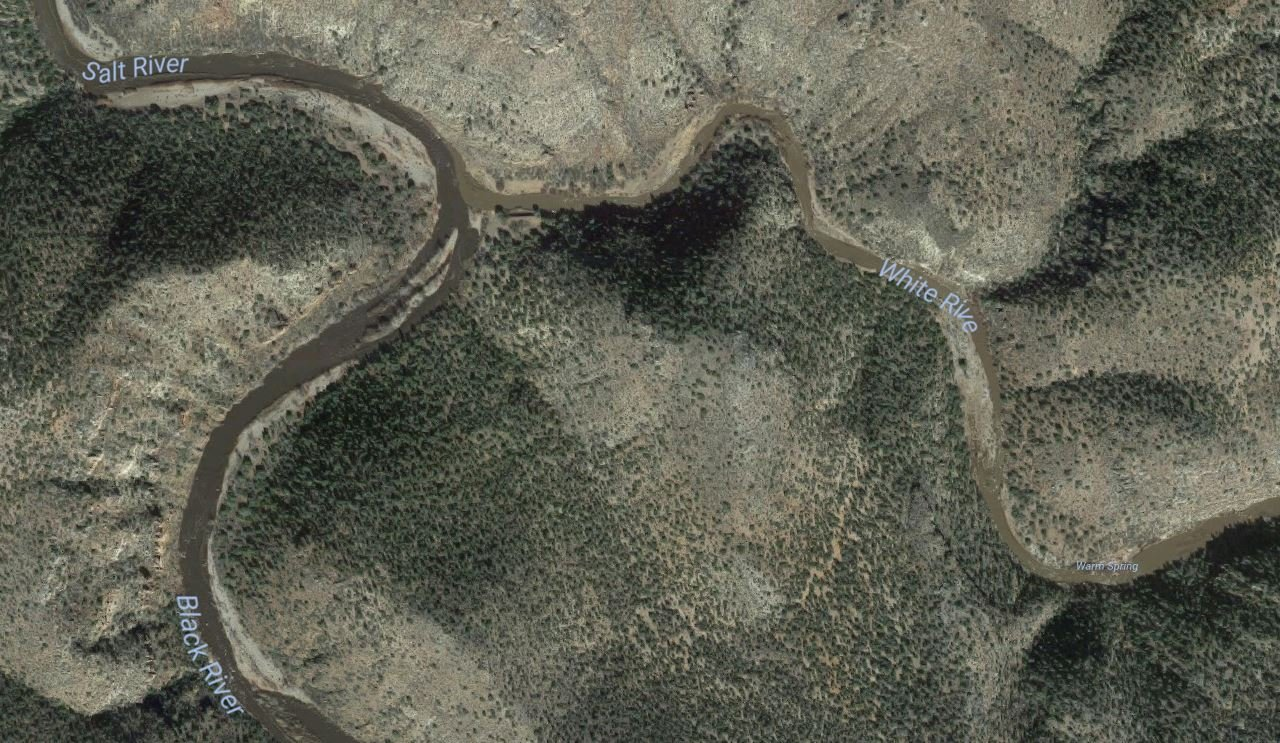 This is where the Black and White Rivers form the Salt River in eastern Arizona. (Source: Google Maps)