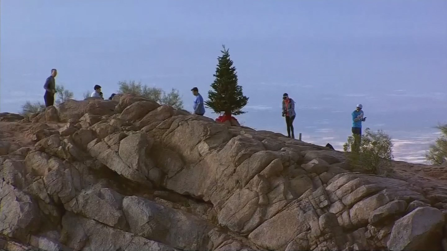The tree was left up on Camelback the day after Thanksgiving last year. (Source: 3TV/CBS 5)