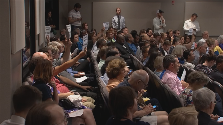 The council voted 4-2 Monday in favor of the contract, despite a large crowd that spilled into an overflow room and seemed tounanimously oppose the deal. (Source: 3TV/CBS 5)