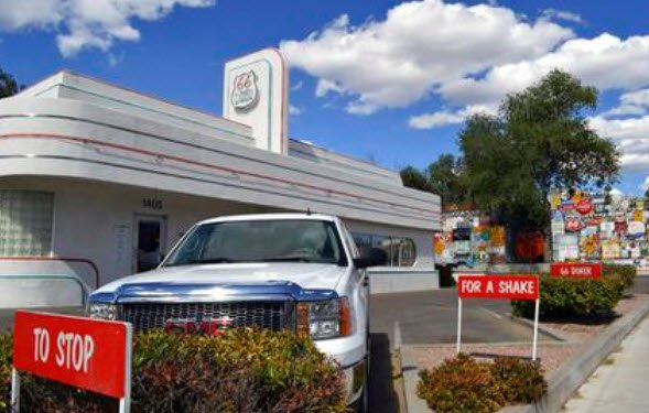 In this May 19, 2017 photo, the Route 66 Diner, once a gas station is shown in Albuquerque, N.M. Route 66, the American Mother Road that once connected motorists from Illinois to California, may lose its place in a National Park Service's preservation pro