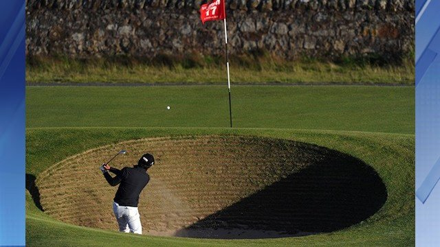 This is the famous 17th bunker at St. Andrews. (Source: CBS Sports)