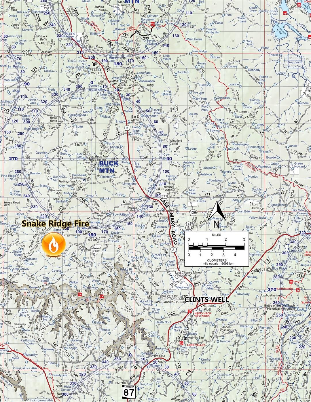 A map of the location of the Snake Ridge Fire. (Source: Coconino National Forest Service)