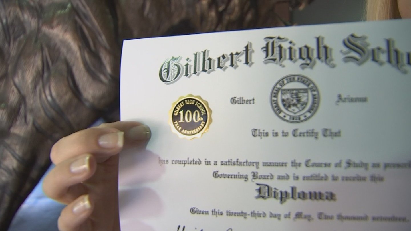 Gilbert High School diplomas will have a unique 100th class seal. (Source: 3TV/CBS 5)