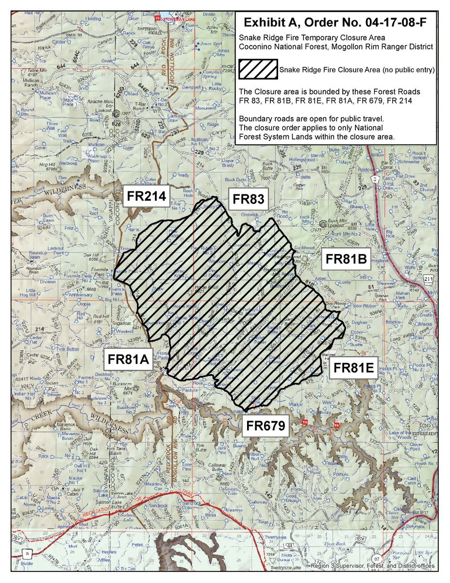 A map of the area closures from the Snake Ridge Fire. (Source: Coconino National Forest)
