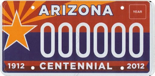 Arizona's centennial plate won the 2011 ALPCA award. (Source: Arizona Dept. of Transportation)