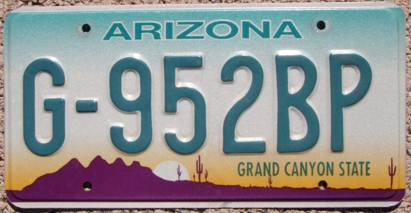 Arizona's 1996 general issue license plate (Source: PlateVault)