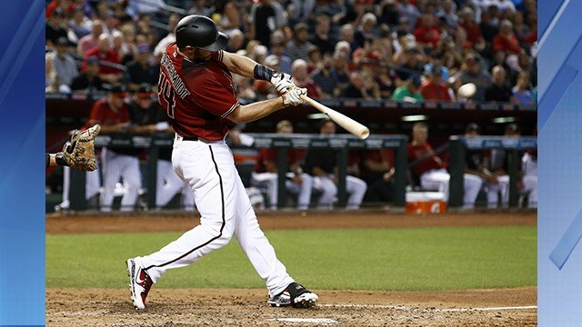 Arizona Diamondbacks' Paul Goldschmidt connects for a run-scoring double against the Chicago White Sox during the fourth inning of a baseball game Wednesday, May 24, 2017, in Phoenix. (AP Photo/Ross D. Franklin)