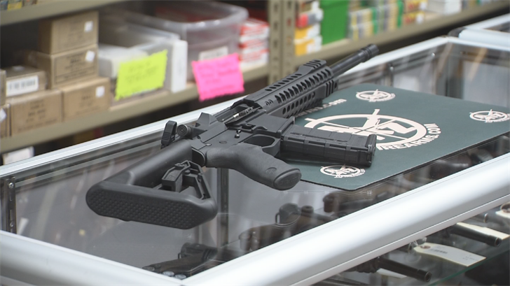 The gun shop will be raffling off a Head Down PV9 Semi-Auto Rifle worth about $1,300. (Source: 3TV/CBS 5)