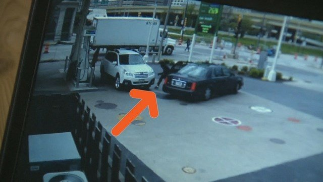 Smith did not see the would-be car thief right away. (Source: CNN)