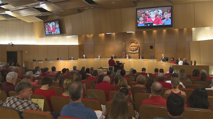 The Red Shirt Army came out in full force for a Chandler City Council Meeting on Thursday. (Source: 3TV/CBS 5)