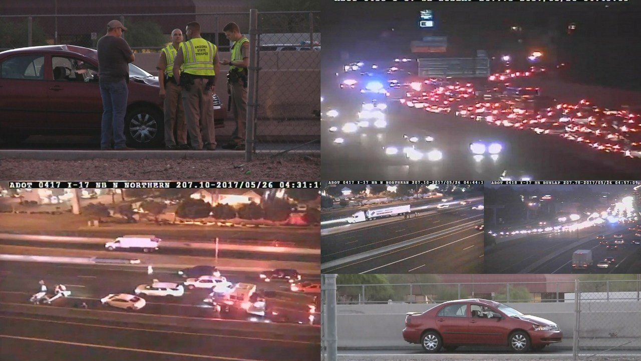 Southbound Interstate 17 in north Phoenix has reopened at Northern Avenue after a nearly two-hour closure that occurred after a naked man was hit by a car. (Source: 3TV/CBS 5)