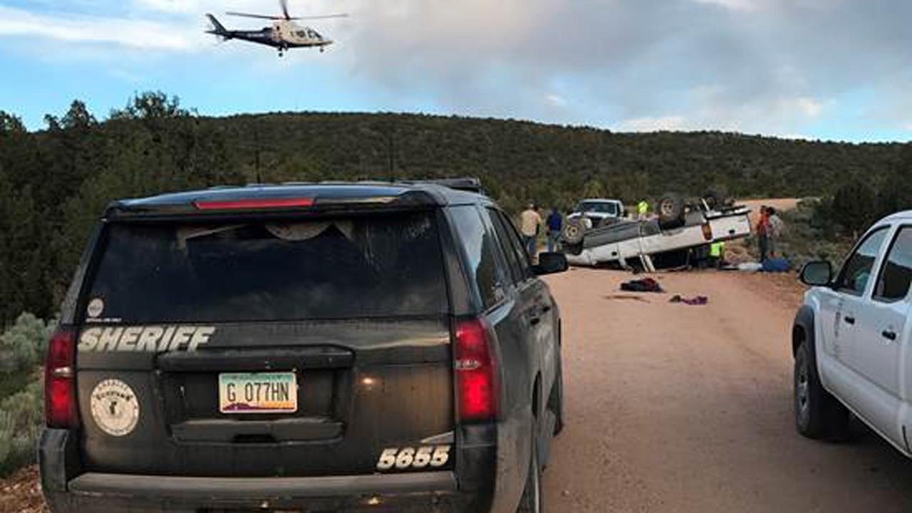 Two teens were airlifted after they rolled their vehicle. (Source: MCSO)