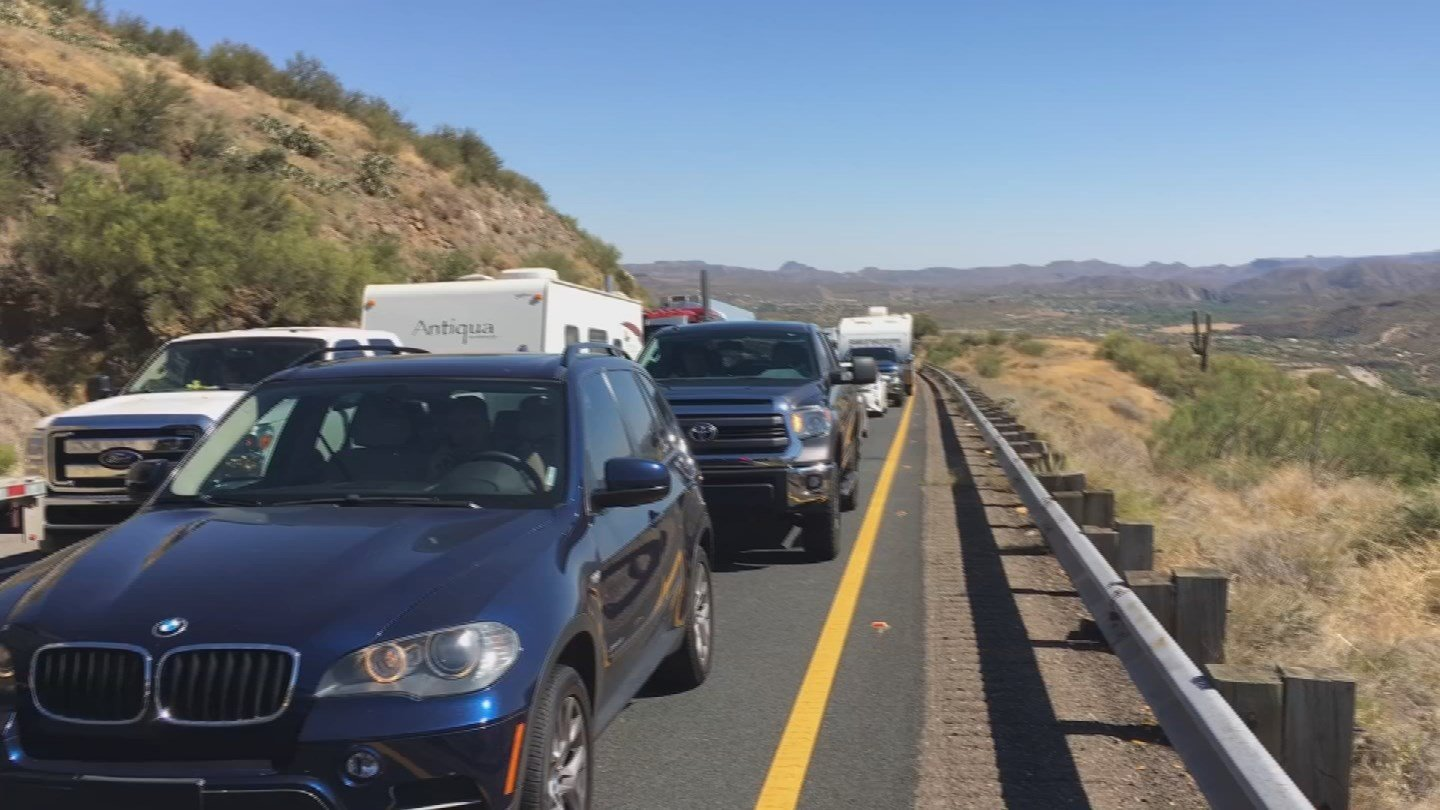 Traffic on the northbound lanes of I-17 was backed up for about 20 miles. (Source: 3TV/CBS 5)