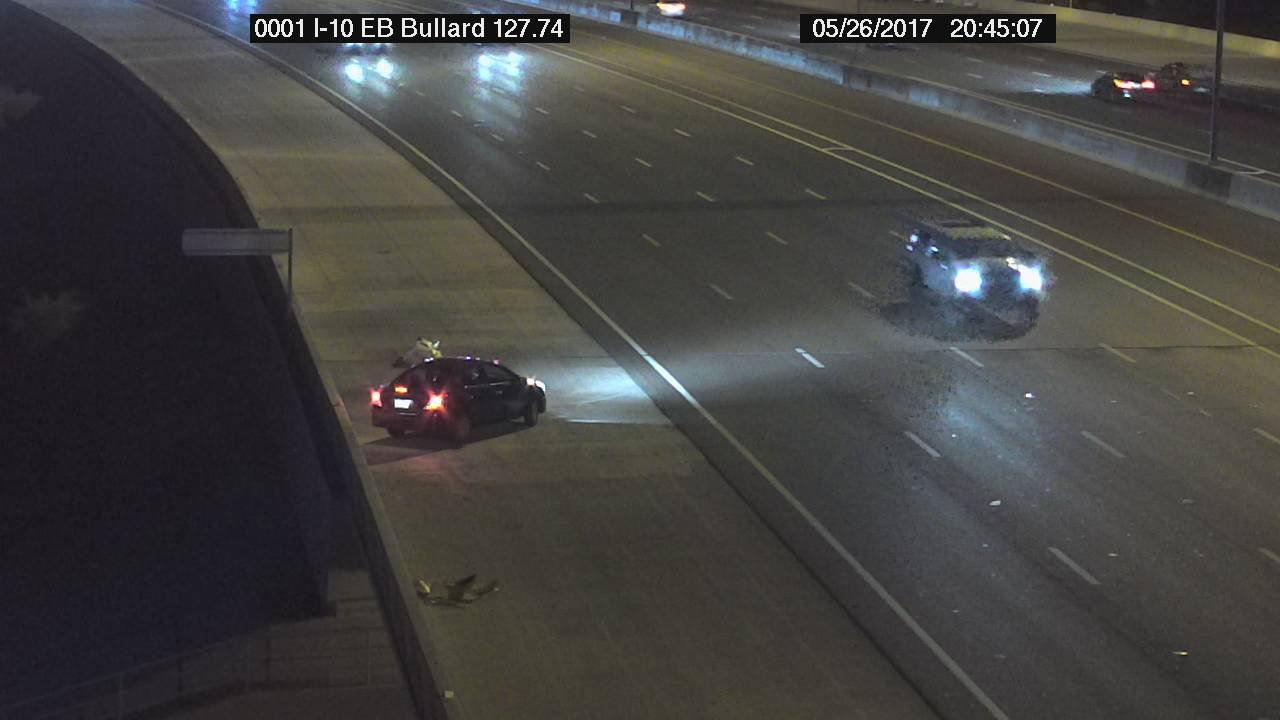 A vehicle crashed into a wall and spun out on the I-10 in Goodyear. (Source: Arizona Department of Transportation)