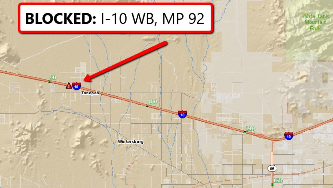 Westbound lanes of the I-10 were temporarily blocked as a medical helicopter responded to c rash that injured 12 people. (Source: Arizona Department of Transportation)