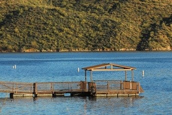 The fishing pier at Saguaro lake. (29 May 2017) [Source: Arizona Game and Fish Dept.]