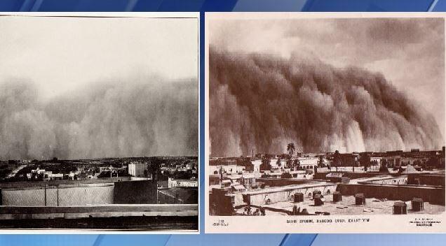 Left: Big Springs Texas sand storm. Right: Khartoum Haboob [Source: Bradshaw Photography; G.N. Moris]