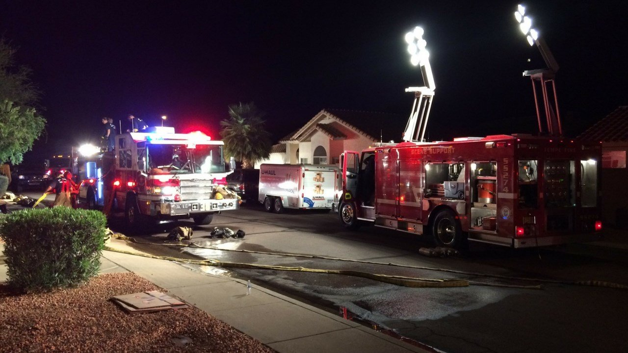 Three people were displaced following a house fire in Ahwatukee late Monday night, according to Phoenix fire. (Source: 3TV/CBS 5)