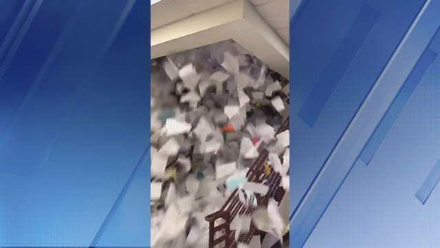 Seniors at Basha High School in Chandler tossed a whole lot of paper into the air on Friday. (Source: Twitter)