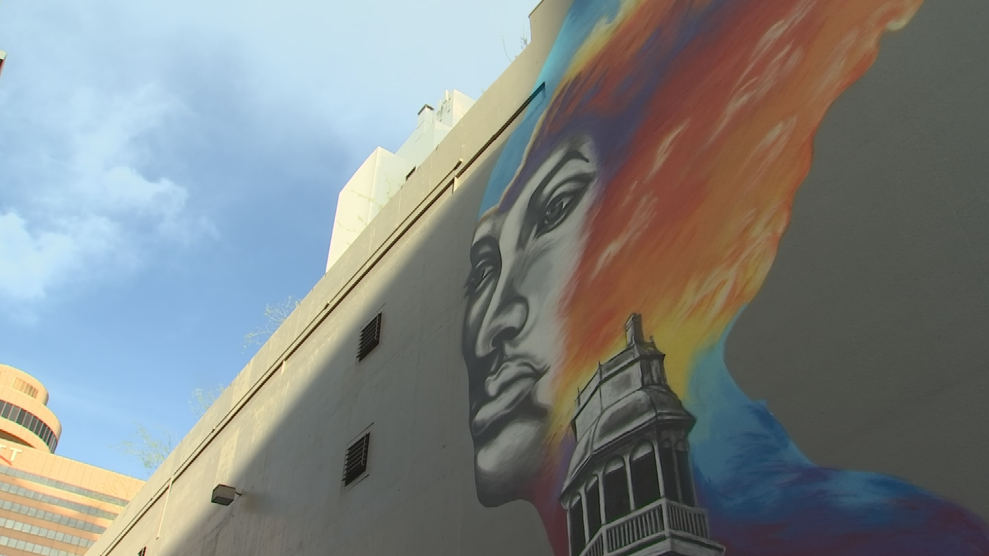 The mural is about 70 feet high and 50 feet wide and is in the alley connecting Central Avenue to First Street just north of Adams Street. (Source: 3TV/CBS 5)