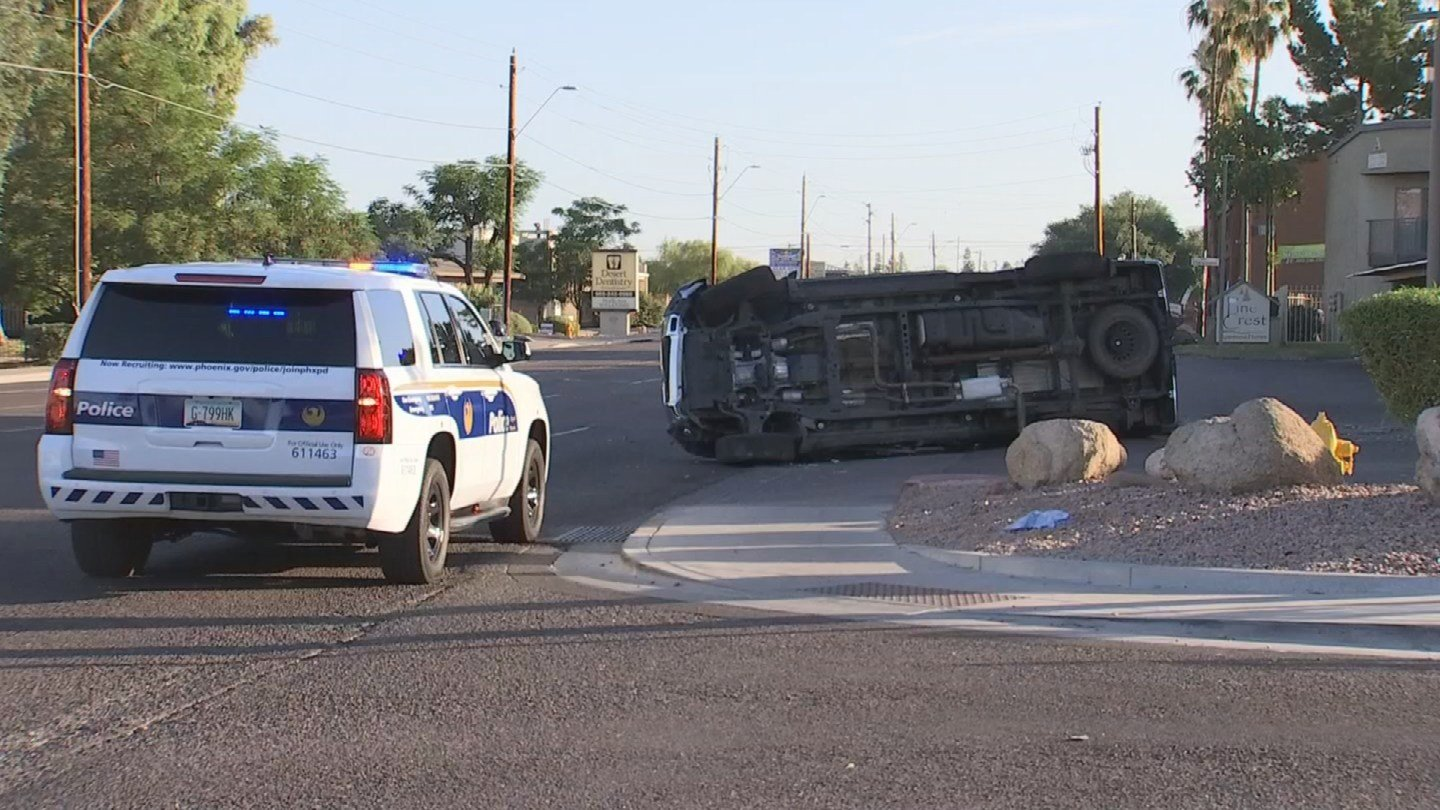 Phoenix police responded to a rollover near 27th Ave. and Rose Lane Wednesday morning. (Source: 3TV/CBS 5)