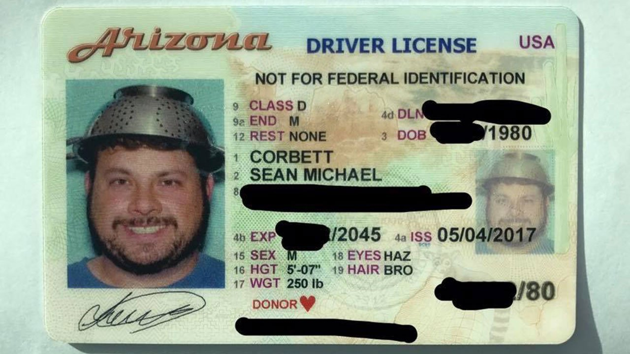 "Chandler man says he's the first ""Pastafarian"" in the state to get his ID photo taken wearing a colander. Courtesy: Sean Corbett"