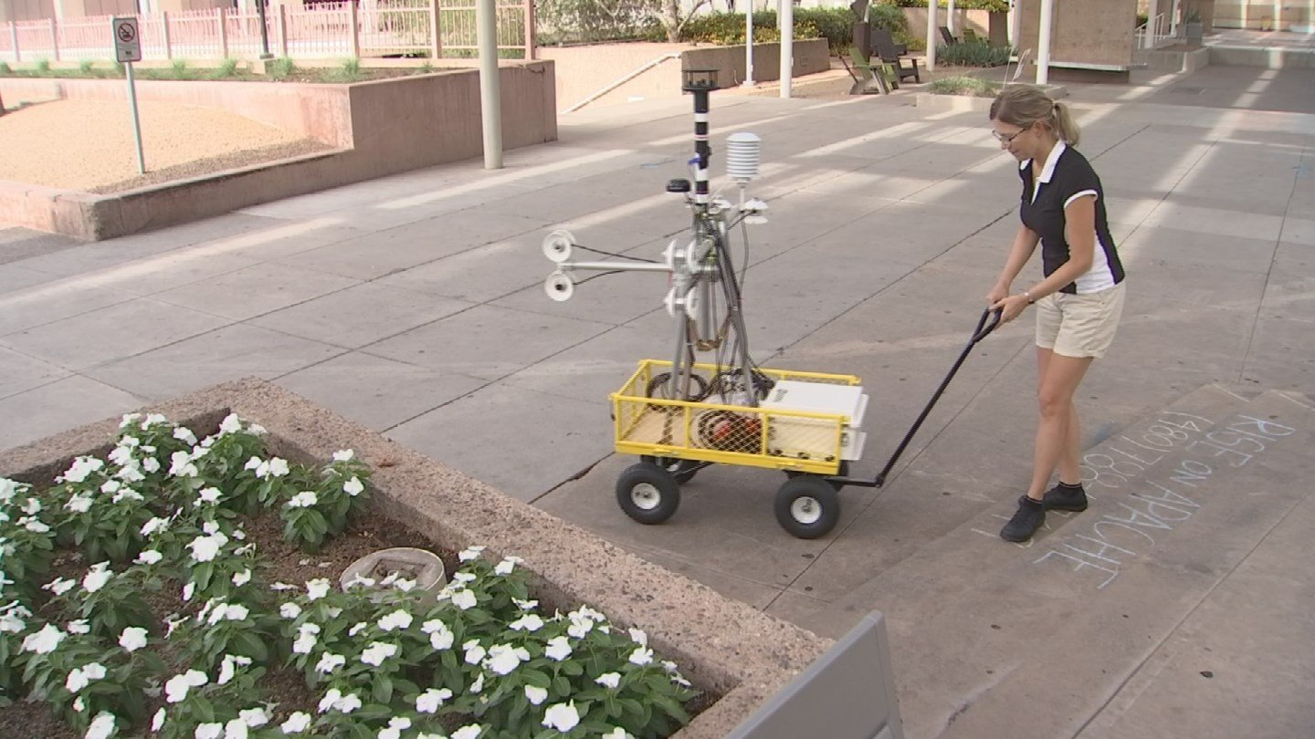 An assistant professor at ASU created a mobile tool that measures mean radiant temperatures. (Source: 3TV/CBS 5)