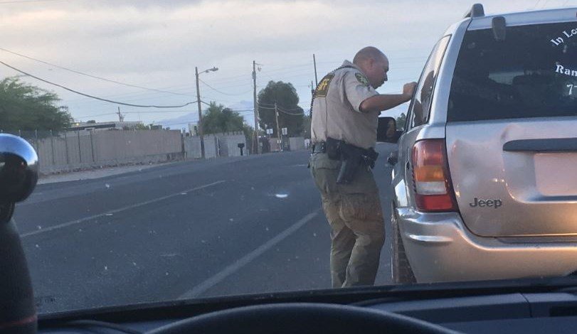 A Pima County deputy stopped a driver who appeared to be using a cell phone. (Source: Tucson News Now)