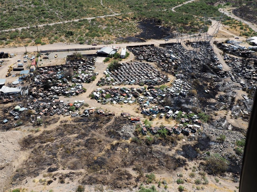 An aerial view of the fire damage. (Source: Yavapai County Sheriff's Office)
