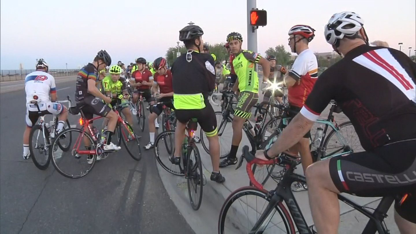 A group of bicyclists rode in honor of Jenna Taylor, who was killed earlier this week in a tragic accident. (Source: 3TV/CBS 5)