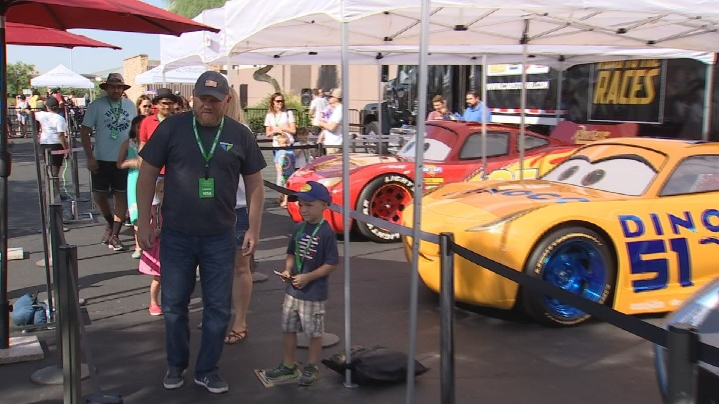 """Hundreds turned out to celebrate the upcoming release of """"Cars 3"""" when the Road to the Races tour reached Desert Ridge Marketplace on Saturday. (Source: 3TV/CBS 5)"""
