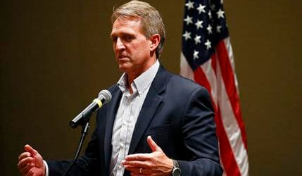 Sen. Jeff Flake, R-Ariz., speaks to members of the Glendale Chamber of Commerce Tuesday, May 30, 2017, in Glendale, Ariz. (AP Photo/Ross D. Franklin)