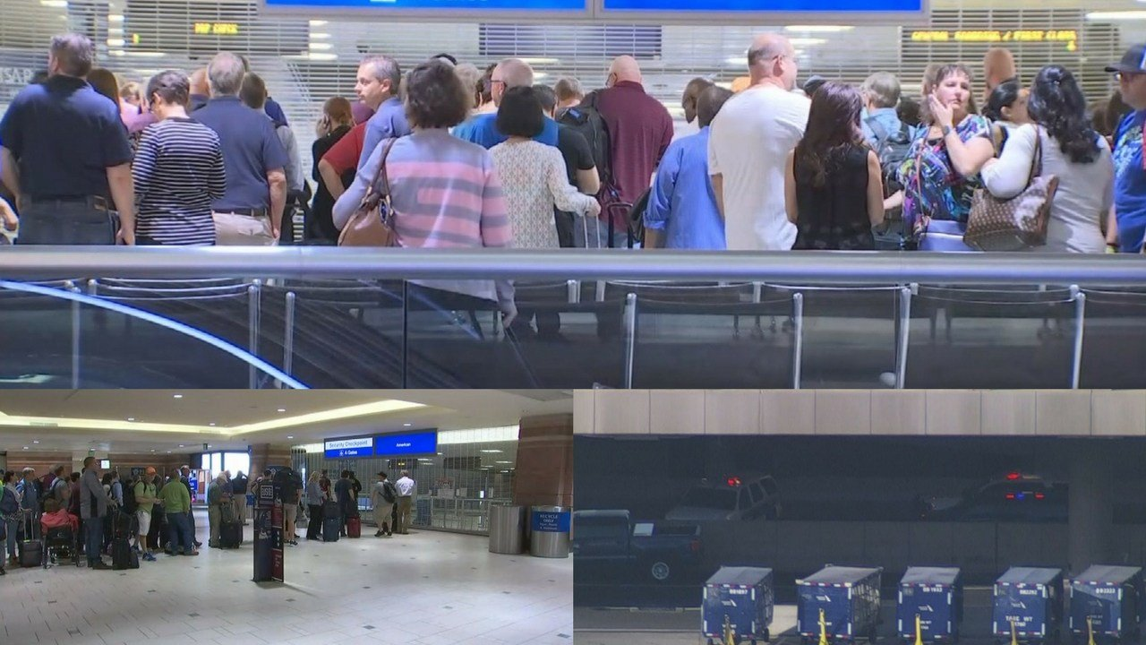 Terminal 4 checkpoints A and D were closed while police investigated a suspicious item. (Source: 3TV/ CBS 5)