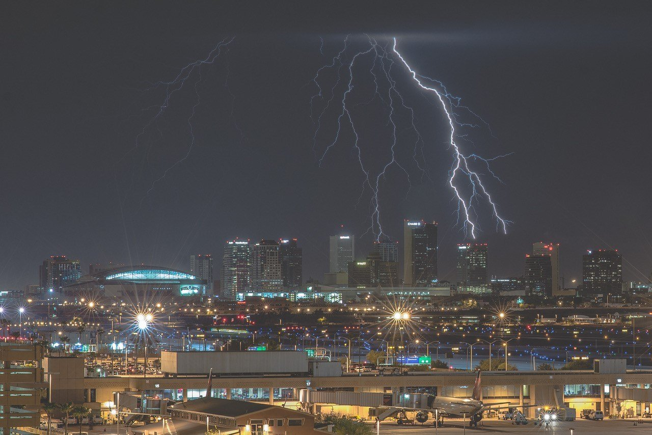 Lightning over downtown Phoenix (Source: Bryan Snider Photography)